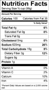 Nutrition Facts Serving Size ¾ cup (99g) Amount Per Serving Calories 100 Calories from Fat 35 % Daily Value Total Fat 4 g 6 % Saturated Fat 0 g 0 % Trans Fat 0 g Cholesterol 0 mg 0 % Sodium 620 mg 26 % Total Carbohydrate 15 g 5 % Dietary Fiber 3 g 12 % Sugars 9 g Protein 1 g Vitamin A 0 % Vitamin C 2 % Calcium 10 % Iron 4 %