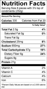 Nutrition Facts Serving Size (252g) Servings Per Container Amount Per Serving Calories 330 Calories from Fat 20 % Daily Value Total Fat 2.5 g 4 % Saturated Fat 0 g 0 % Trans Fat 0 g Cholesterol 25 mg 8 % Sodium 650 mg 27 % Total Carbohydrate 57 g 19 % Dietary Fiber 6 g 24 % Sugars 8 g Protein 21 g Vitamin A 2 % Vitamin C 4 % Calcium 4 % Iron 6 %