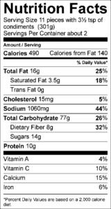 Nutrition Facts Serving Size 11 pieces with 3½ tsp of condiments (301g) Servings Per Container about 2 Amount Per Serving Calories 490 Calories from Fat 140 % Daily Value Total Fat 16 g 25 % Saturated Fat 3.5 g 18 % Trans Fat 0 g Cholesterol 15 mg 5 % Sodium 1060 mg 44 % Total Carbohydrate 77 g 26 % Dietary Fiber 8 g 32 % Sugars 14 g Protein 10 g Vitamin A 4 % Vitamin C 10 % Calcium 15 % Iron 6 %