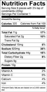Nutrition Facts / Valeur nutritive Per 9 pieces with 3¼ tsp of condiments (200 g) / pour 9 morceaux avec 3¼ c. à thé de condiment (200 g) Amount Per Serving / Teneur par portion Calories / Calories 310 % Daily Value / % valeur quotidienne Fat / Lipides 10 g 13 % Saturated / saturés 1.5 g 8 % Trans / trans 0 g Carbohydrate / Glucides 45 g Fibre / Fibres 2 g 7 % Sugars / Sucres 8 g Protein / Protéines 11 g Cholesterol / Cholestérol 15 mg Sodium / Sodium 800 mg 35 % Potassium / Potassium 100 mg 2 % Calcium / Calcium 20 mg 2 % Iron / Fer 0.75 mg 4 %