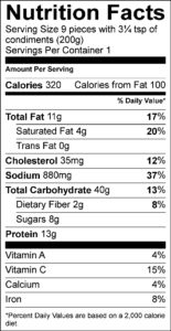 Nutrition Facts / Valeur nutritive Per 9 pieces with 3¼ tsp of condiments (200 g) / pour 9 morceaux avec 3¼ c. à thé de condiment (200 g) Amount Per Serving / Teneur par portion Calories / Calories 310 % Daily Value / % valeur quotidienne Fat / Lipides 11 g 15 % Saturated / saturés 4 g 21 % Trans / trans 0.1 g Carbohydrate / Glucides 41 g Fibre / Fibres 2 g 7 % Sugars / Sucres 7 g Protein / Protéines 14 g Cholesterol / Cholestérol 35 mg Sodium / Sodium 770 mg 33 % Potassium / Potassium 150 mg 3 % Calcium / Calcium 40 mg 3 % Iron / Fer 1.25 mg 7 %
