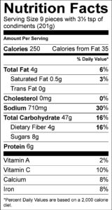 Nutrition Facts Serving Size 9 pieces with 3½ tsp of condiments (201g) Amount Per Serving Calories 250 Calories from Fat 35 % Daily Value Total Fat 4 g 6 % Saturated Fat 0.5 g 3 % Trans Fat 0 g Cholesterol 0 mg 0 % Sodium 710 mg 30 % Total Carbohydrate 47 g 16 % Dietary Fiber 4 g 16 % Sugars 8 g Protein 6 g Vitamin A 2 % Vitamin C 10 % Calcium 8 % Iron 8 %