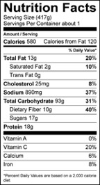 Nutrition Facts Serving Size (417g) Servings Per Container about 1 Amount Per Serving Calories 580 Calories from Fat 120 % Daily Value Total Fat 13 g 20 % Saturated Fat 2 g 10 % Trans Fat 0 g Cholesterol 25 mg 8 % Sodium 890 mg 37 % Total Carbohydrate 93 g 31 % Dietary Fiber 10 g 40 % Sugars 17 g Protein 18 g Vitamin A 0 % Vitamin C 20 % Calcium 6 % Iron 8 %