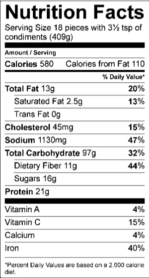 US NOZOMI COMBO  NUTRITION FACTS SERVING SIZE 18 PIECES WITH 3½ TSP OF CONDIMENTS (409G)   AMOUNT PER SERVING CALORIES	580					 CALORIES FROM FAT	110					  % DAILY VALUE TOTAL FAT	13	G			20	%	 SATURATED FAT	2.5	G			13	%	 TRANS FAT	0	G					 CHOLESTEROL	45	MG			15	%	 SODIUM	1130	MG			47	%	 TOTAL CARBOHYDRATE	97	G			32	%	 DIETARY FIBER	11	G			44	%	 SUGARS	16	G					 PROTEIN	21	G					  VITAMIN A				4	%	 VITAMIN C				15	%	 CALCIUM				4	%	 IRON				40	%